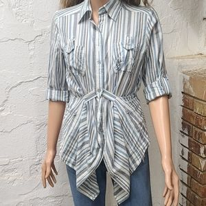 At last long stripe button up blouse